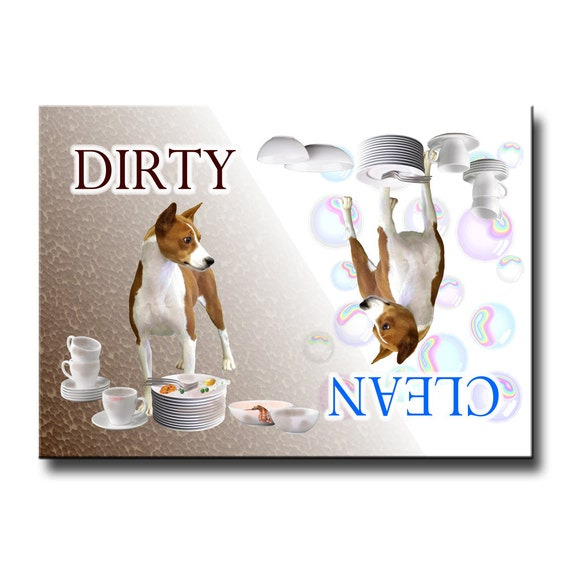 Basenji Clean Dirty Dishwasher Magnet No 1