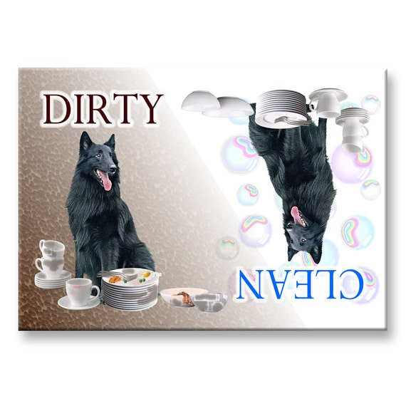 Belgian Sheepdog Clean Dirty Dishwasher Magnet Groenendael