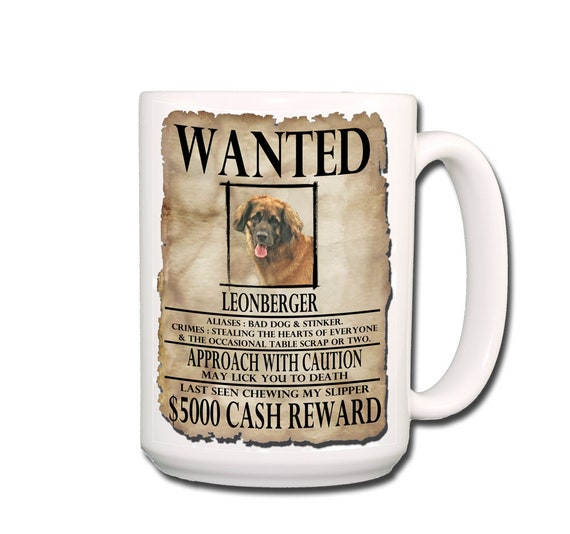Leonberger Wanted Poster Extra Large 15 oz Coffee Mug