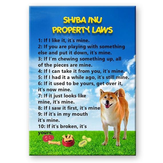 Shiba Inu Property Laws Fridge Magnet No 1