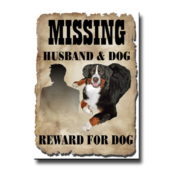 Bernese Mountain Dog Husband Missing Reward Fridge Magnet