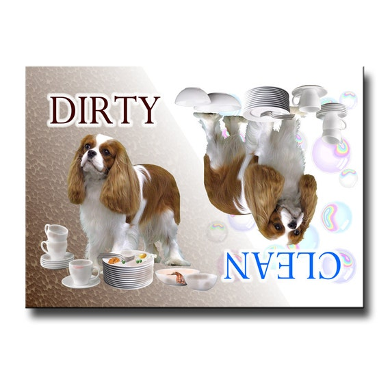 Cavalier King Charles Spaniel Clean Dirty Dishwasher Magnet No 2