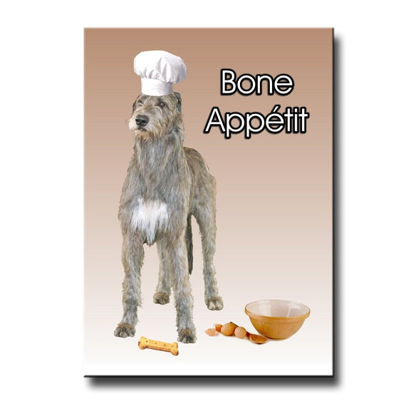 Irish Wolfhound Bone Appetit Chef Fridge Magnet