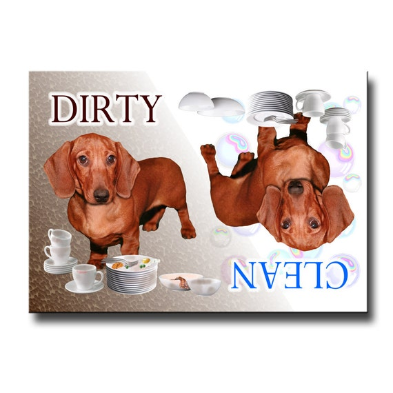 Dachshund Clean Dirty Dishwasher Magnet No 5