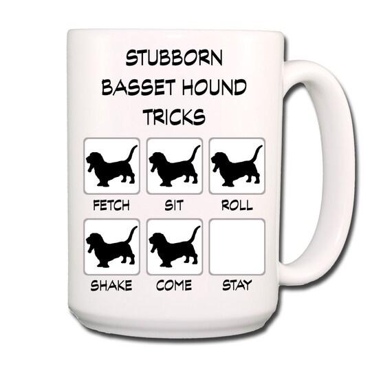 Basset Hound Stubborn Tricks 15 oz Large Coffee Mug