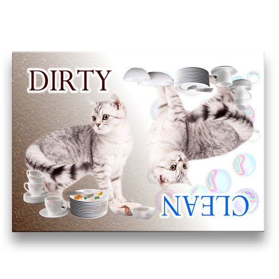 American Shorthair Cat Clean Dirty Dishwasher Magnet No 1