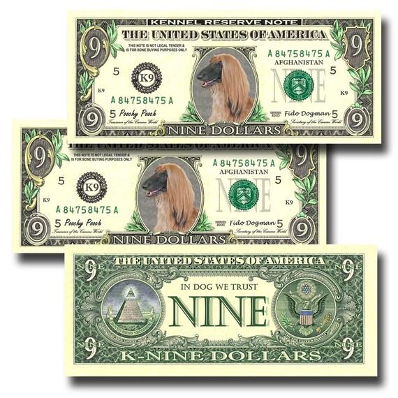 Afghan Hound Dog Pack Of 3 Novelty Nine Dollar Bills