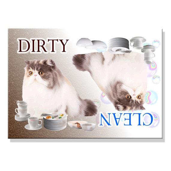 Persian Cat Clean Dirty Dishwasher Magnet No 2