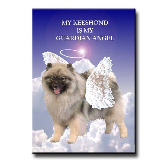 Keeshond Guardian Angel Pet Loss Fridge Magnet