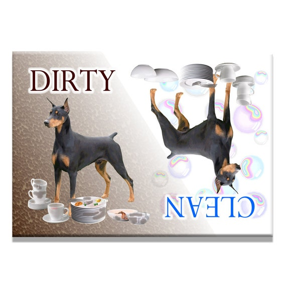 Doberman Pinscher Clean Dirty Dishwasher Magnet No 1 Black