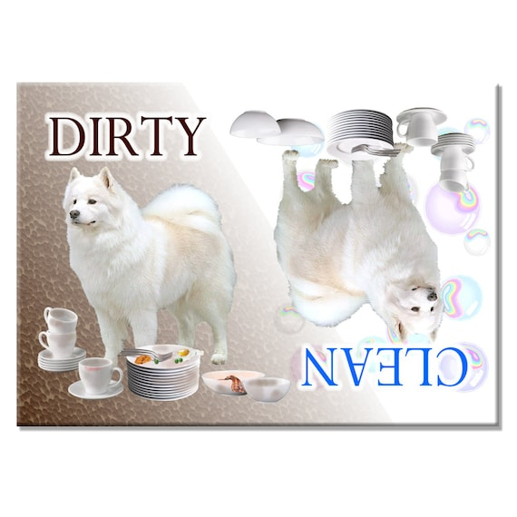 Samoyed Clean Dirty Dishwasher Magnet