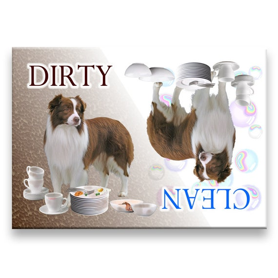 Border Collie Clean Dirty Dishwasher Magnet No 2