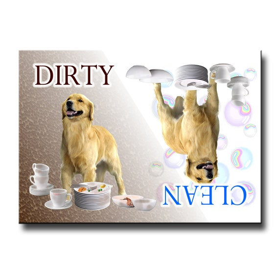 Golden Retriever Clean Dirty Dishwasher Magnet