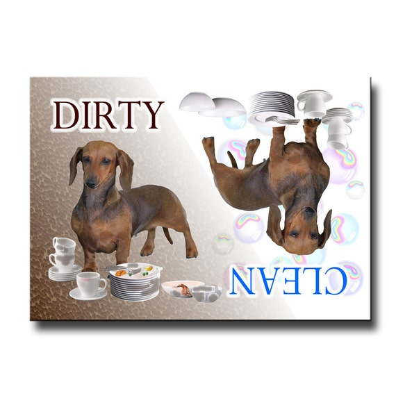 Dachshund Clean Dirty Dishwasher Magnet No 1