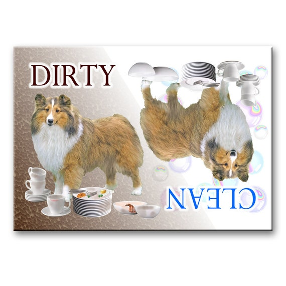 Shetland Sheepdog Clean Dirty Dishwasher Magnet No 1