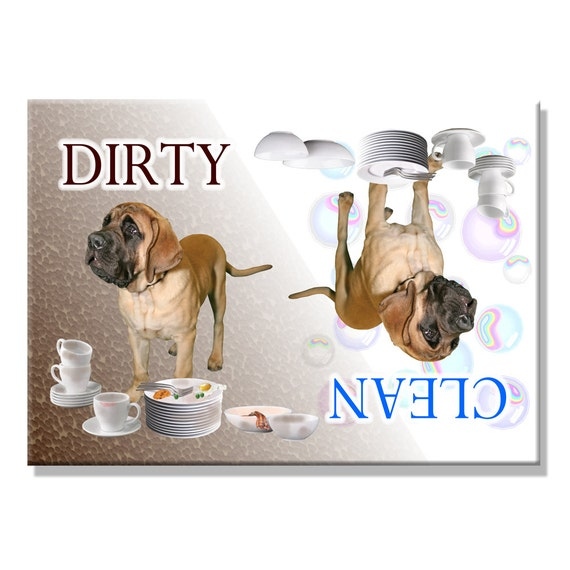 Mastiff Clean Dirty Dishwasher Magnet No 1