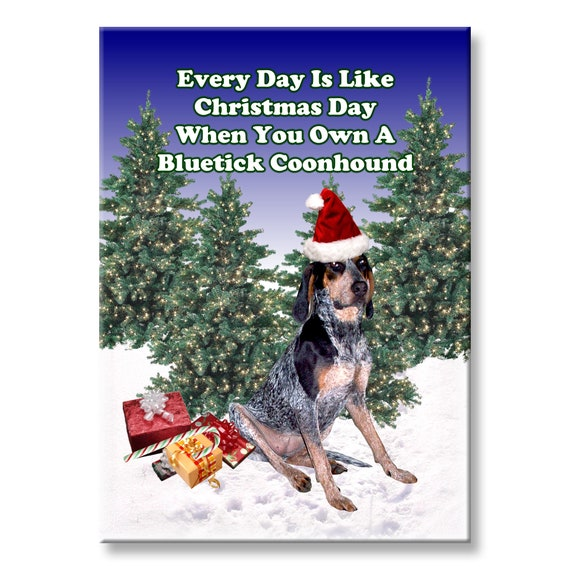 Bluetick Coonhound Christmas Holidays Fridge Magnet No 1