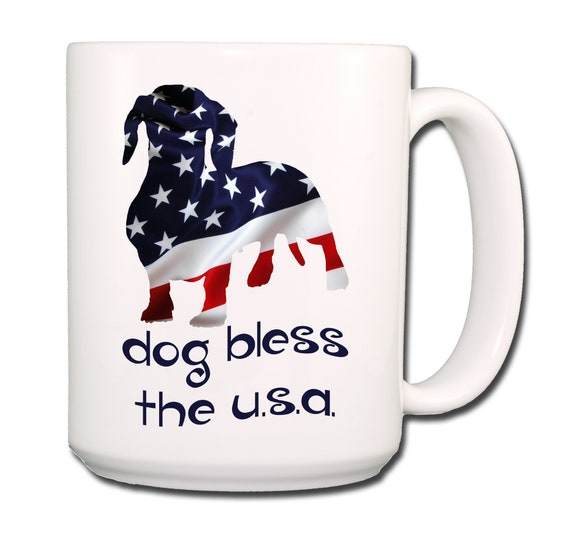 Dachshund Dog Bless The U.S.A. Extra Large 15 oz Coffee Mug
