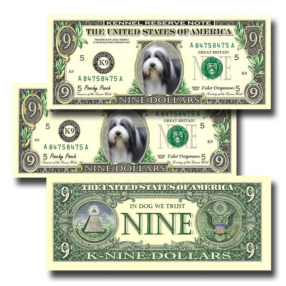 Bearded Collie Pack Of 3 Novelty Nine Dollar Bills