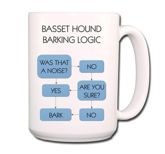 Basset Hound Barking Logic Extra Large 15 oz Ceramic Coffee Mug