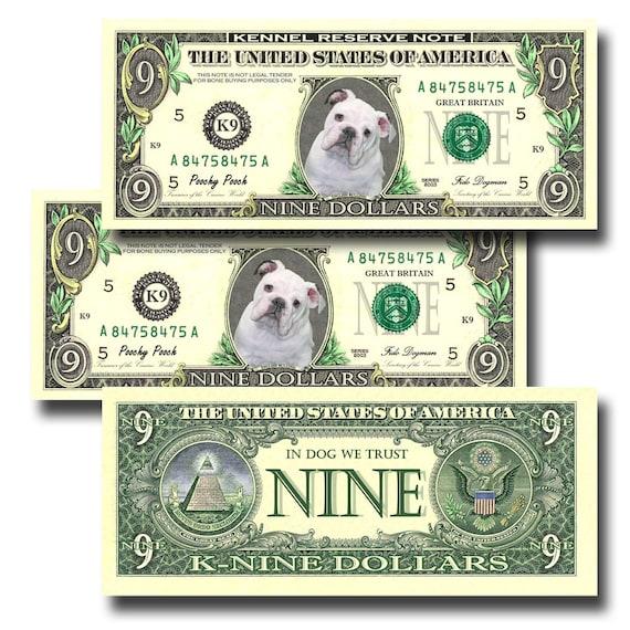 English Bulldog Pack Of 3 Novelty Nine Dollar Bills #3