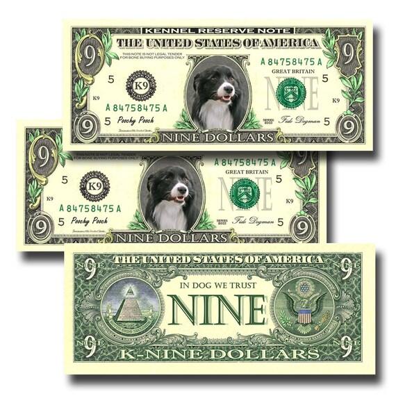Border Collie Pack Of 3 Novelty Nine Dollar Bills