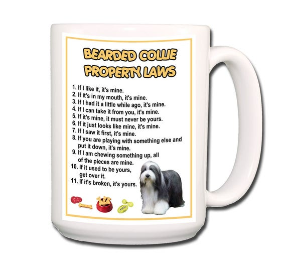 Bearded Collie Property Laws Extra Large 15 oz Coffee Mug