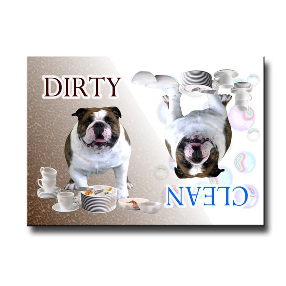 English Bulldog Clean Dirty Dishwasher Magnet No 1