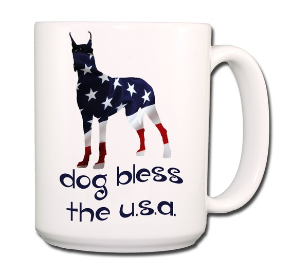 Great Dane Dog Bless The U.S.A. Extra Large 15 oz Coffee Mug