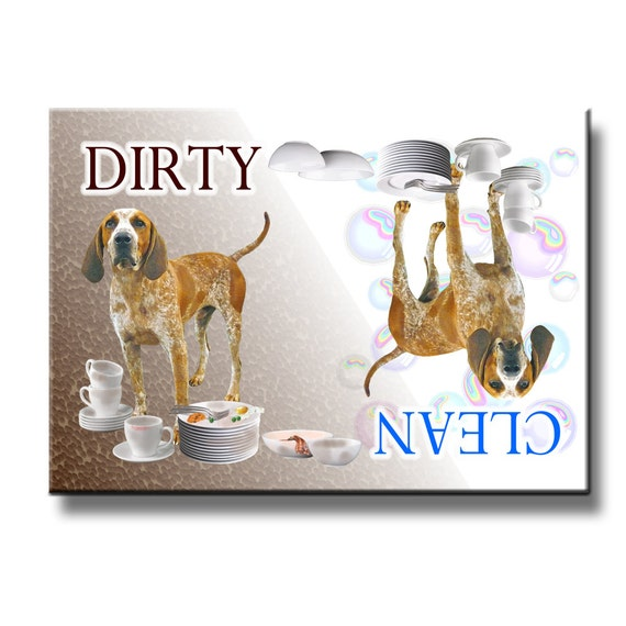 Redtick Coonhound Clean Dirty Dishwasher Magnet