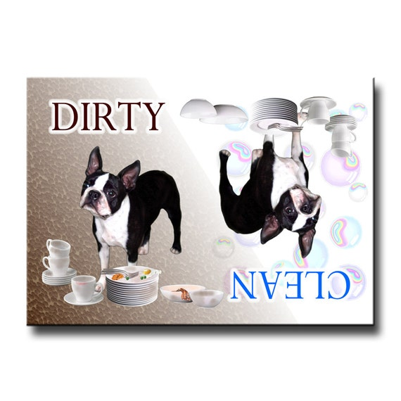 Boston Terrier Clean Dirty Dishwasher Magnet