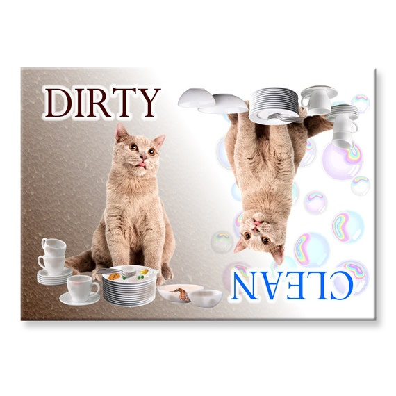 British Shorthair Cat Clean Dirty Dishwasher Magnet No 3