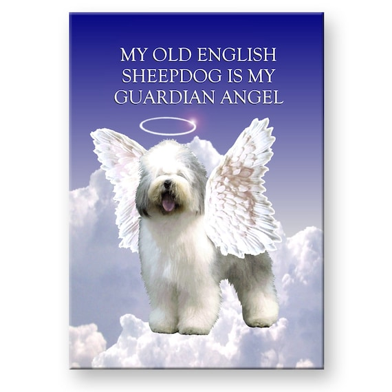 Old English Sheepdog Guardian Angel Fridge Magnet