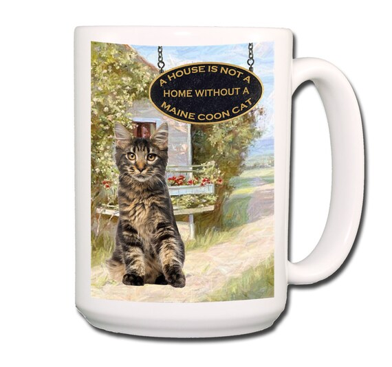 Maine Coon Cat a House is Not a Home Large 15 oz Coffee Mug No 3