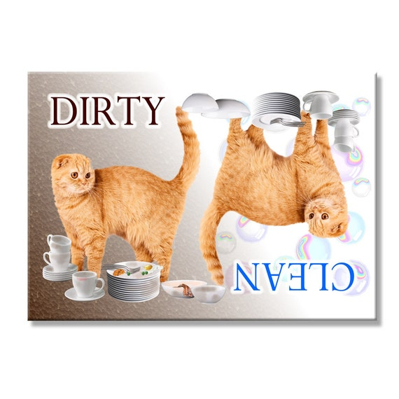 Scottish Fold Clean Dirty Dishwasher Magnet No 1