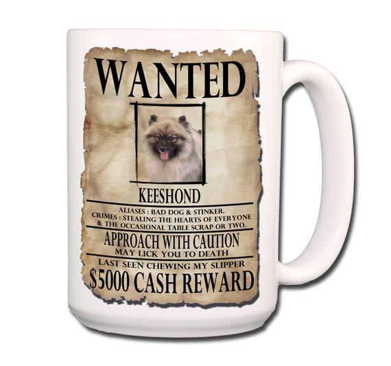 Keeshond Wanted Poster Extra Large 15 oz Coffee Mug
