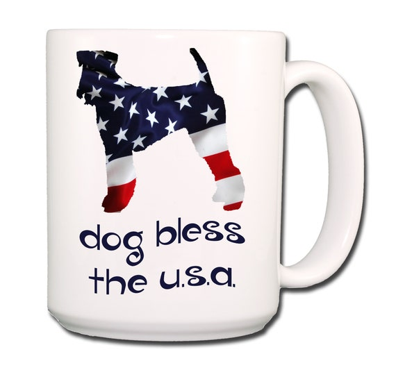 Airedale Terrier Dog Bless The U.S.A. Extra Large 15 oz Coffee Mug