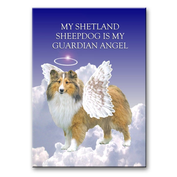Shetland Sheepdog Guardian Angel Fridge Magnet No 1
