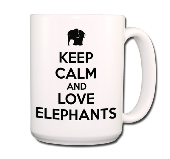 Keep Calm and Love Elephants Large 15 oz Coffee Mug