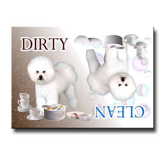 Bichon Frise Clean Dirty Dishwasher Magnet