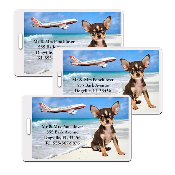 Chihuahua Set of 3 Personalized Luggage Tags (#3)