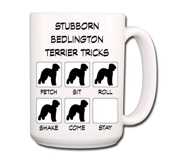 Bedlington Terrier Stubborn Tricks Large 15 oz Coffee Mug
