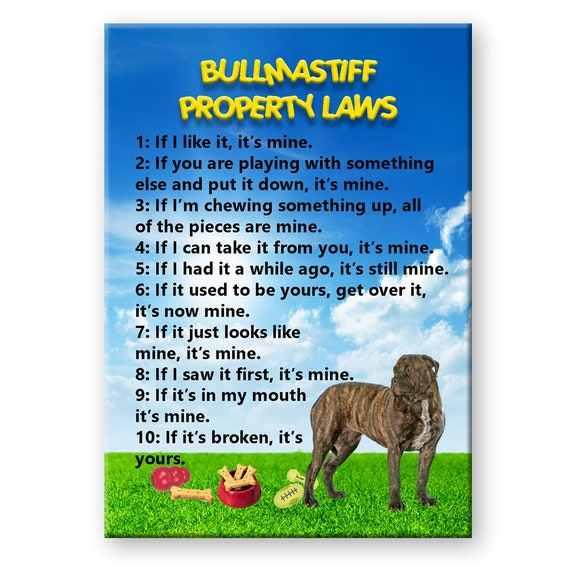 Bullmastiff Property Laws Fridge Magnet No 2