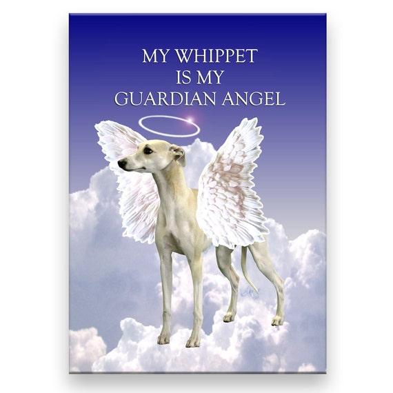 Whippet Guardian Angel Pet Loss Fridge Magnet