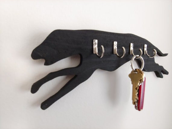 Greyhound Wooden Key Holder with 4 Hangers Rustic Black