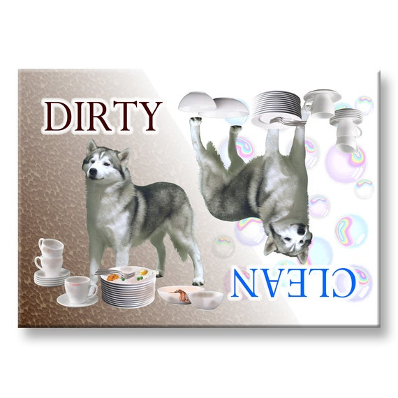 Siberian Husky Clean Dirty Dishwasher Magnet No 1
