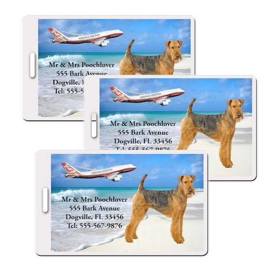 Airedale Terrier Set of 3 Personalized Luggage Tags