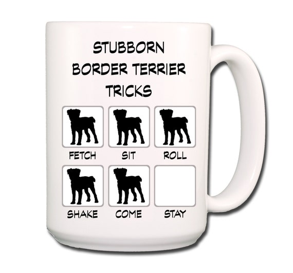 Border Terrier Stubborn Tricks Large 15 oz Coffee Mug