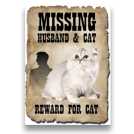 Persian Cat Husband Missing Reward Fridge Magnet No 1