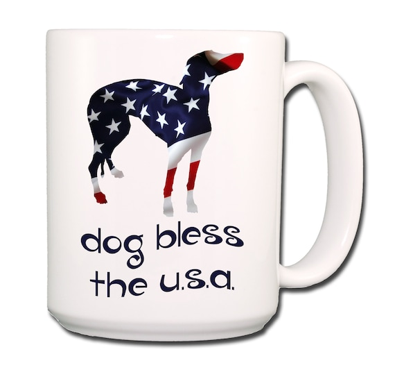 Greyhound Dog Bless The U.S.A. Extra Large 15 oz Coffee Mug